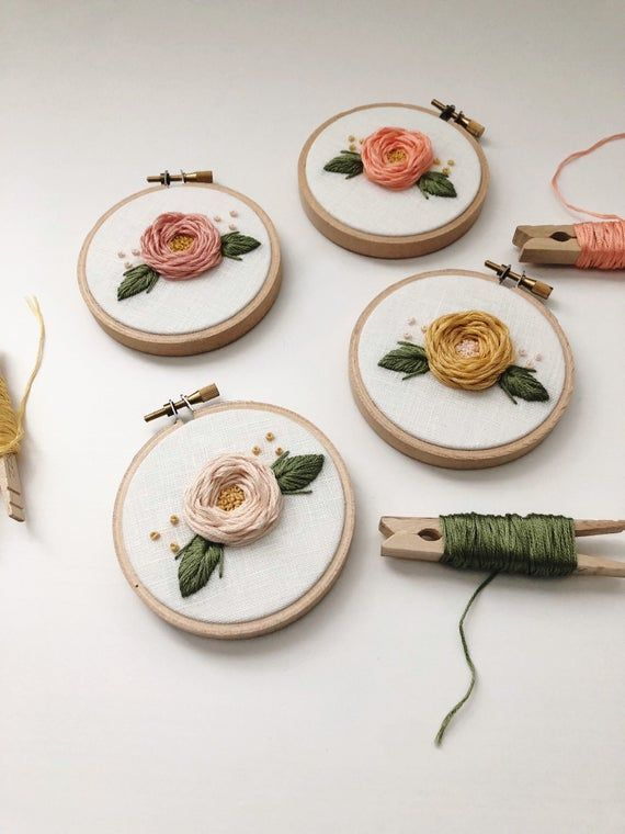 Embroidery Hoop Art - Floral Embroidery - Hand Embroidery - Modern Embroidery - Embroidered Home Decor - Nursery Decor -Mini Embroidery Hoop #floralembroidery