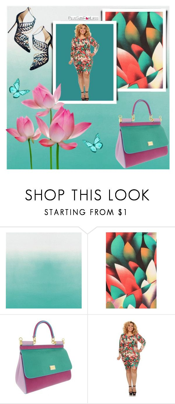 """""""PlusSizeF♥rLess"""" by plussizeforless ❤ liked on Polyvore featuring Dolce&Gabbana, Jimmy Choo, floral, GREEN, lotus and plussizeforless"""