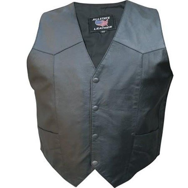 Allstate Basic Snap Front Men Goat Skin Leather Fitted Motorcycle Vest comes in a solid black color is made of genuine goat skin leather with pleats and 4 button snap front in a lightweight fitted style for bikers and cruiser style motorcycle riders.
