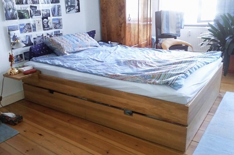 Das Bett, 140x200 in Länge und Breite, wurde für unseren