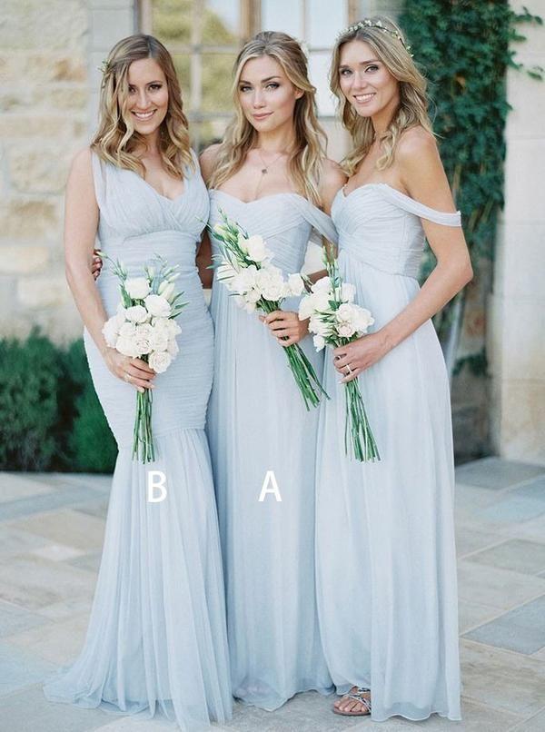 Mismatched Light Blue A Line Off The Shoulder Chiffon Long Bridesmaid Dresses, MD479
