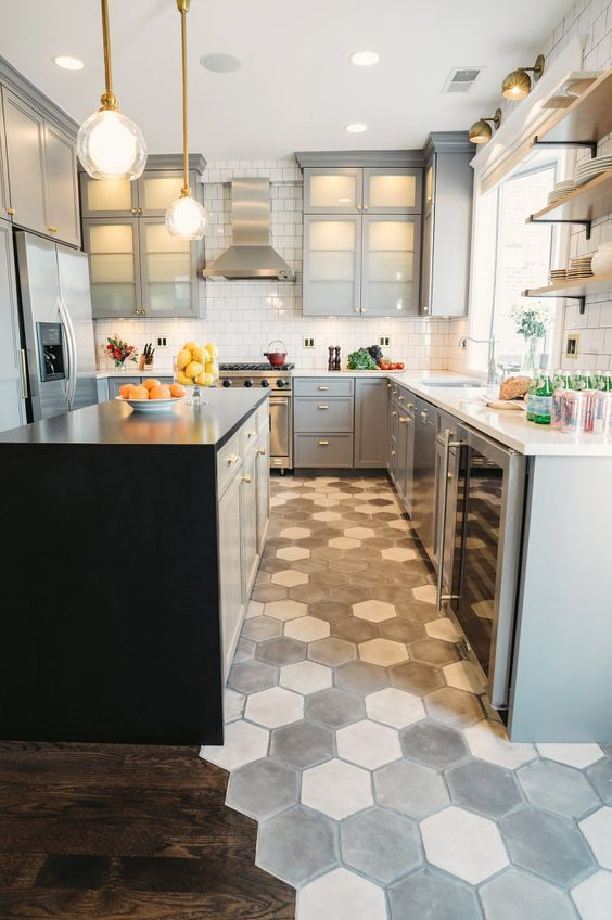 Mosaic Grey Honeycomb Floor Makes A Statement In This Neutral Grey Kitchen Contemporary Kitchen Kitchen Floor Tile Kitchen Flooring