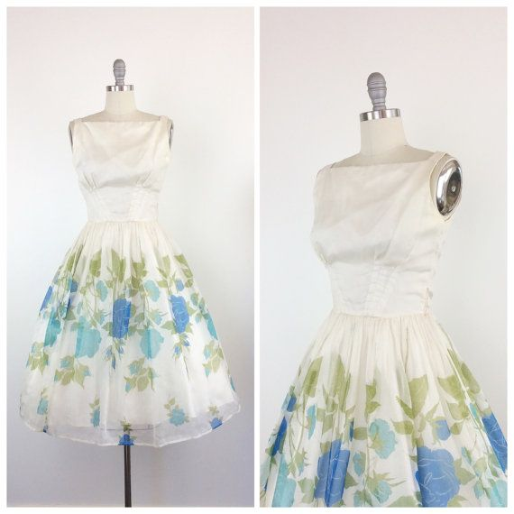 50s Rose Print Chiffon Party Dress / 1950s Vintage Prom Dress ...