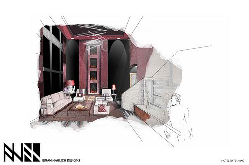 Handrendering brian naglich kopinski hotel interior - Harrington institute of interior design ...