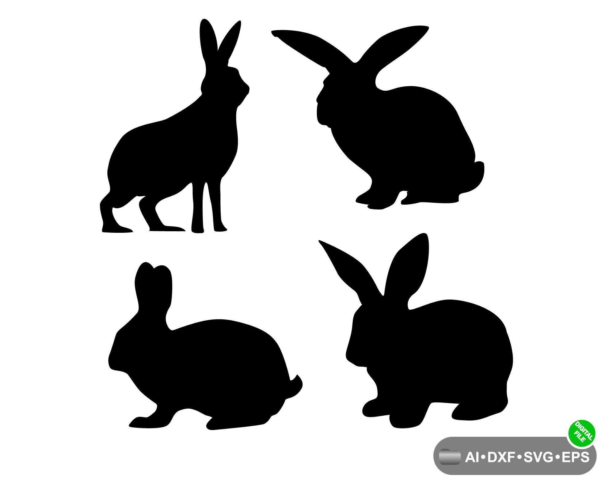 Bunny Rabbit Silhouette Drawing Clipart Set Png Jpg Svg Etsy Rabbit Silhouette Silhouette Drawing Drawing Clipart
