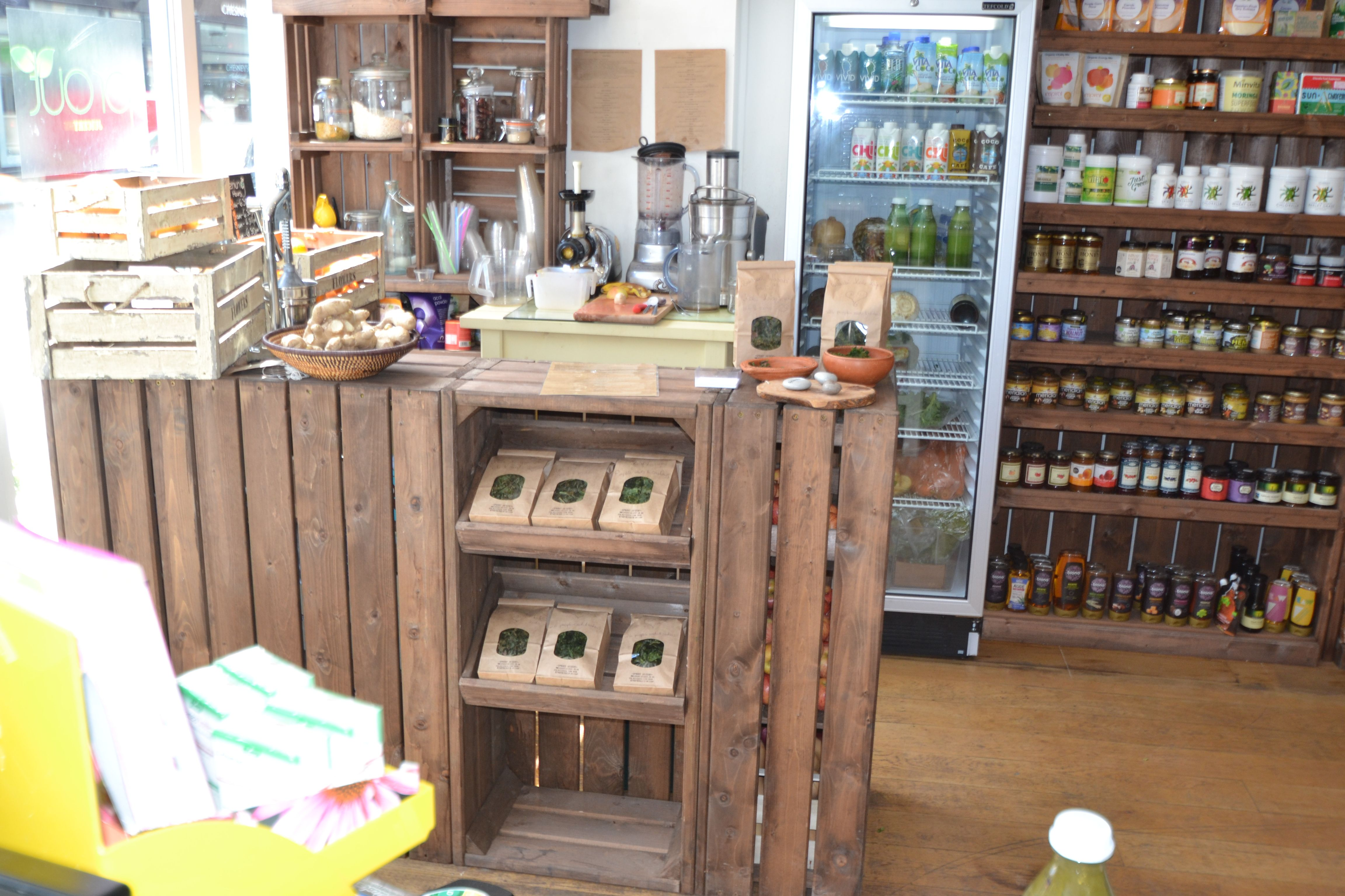 Juice Bar Counter, So Simple Using Chunky Crates And Sloping Bakery Trays.  Retail Displays