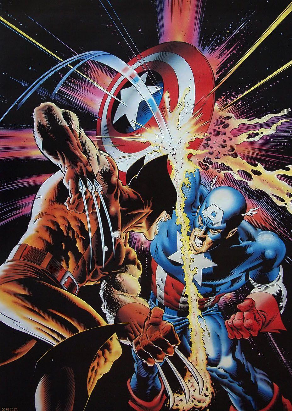 Stuffnthings Wolverine Vs Captain America By Mike Zeck Wolverine Vs Captain America Wolverine Art Marvel Art