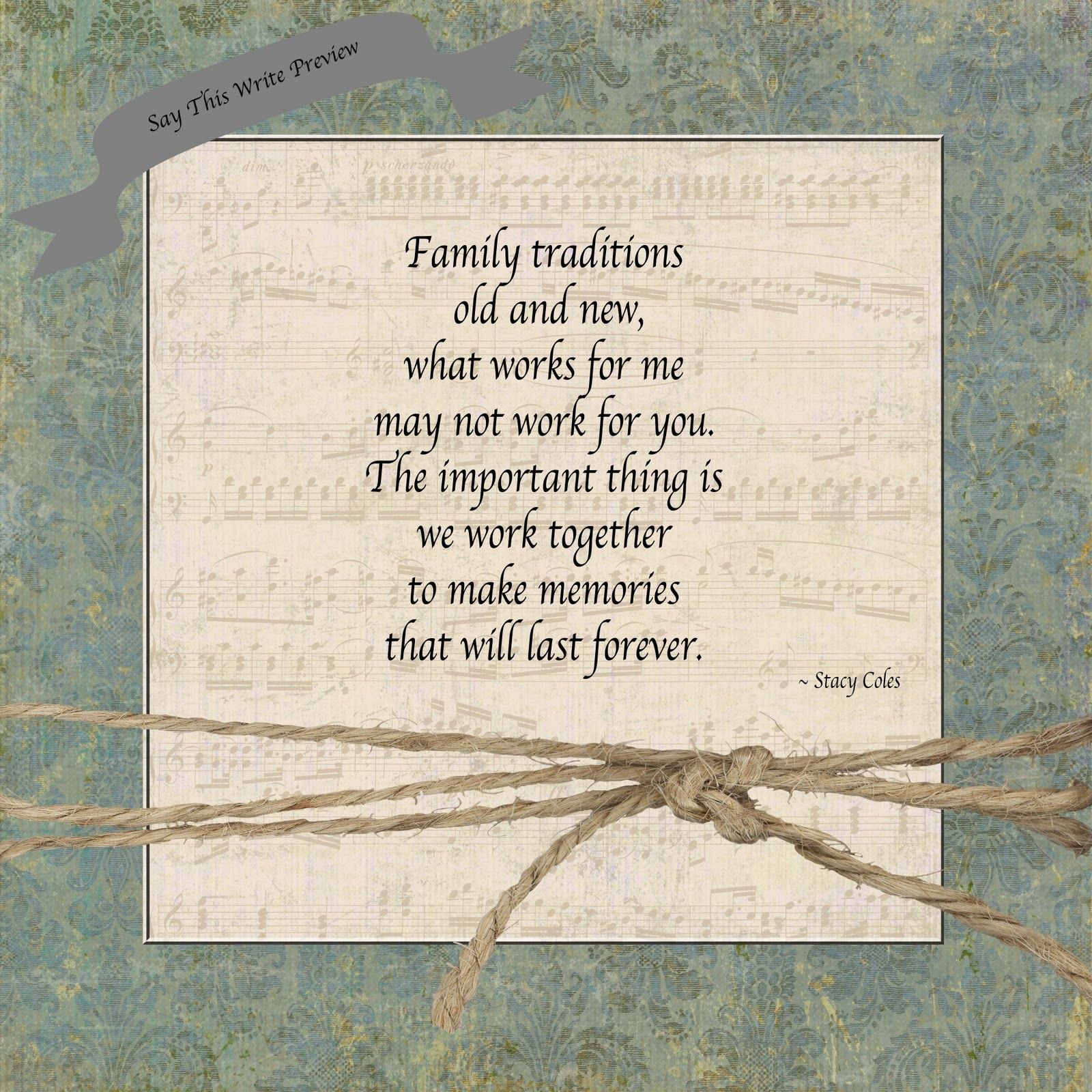 """Family Traditions"" Visit"