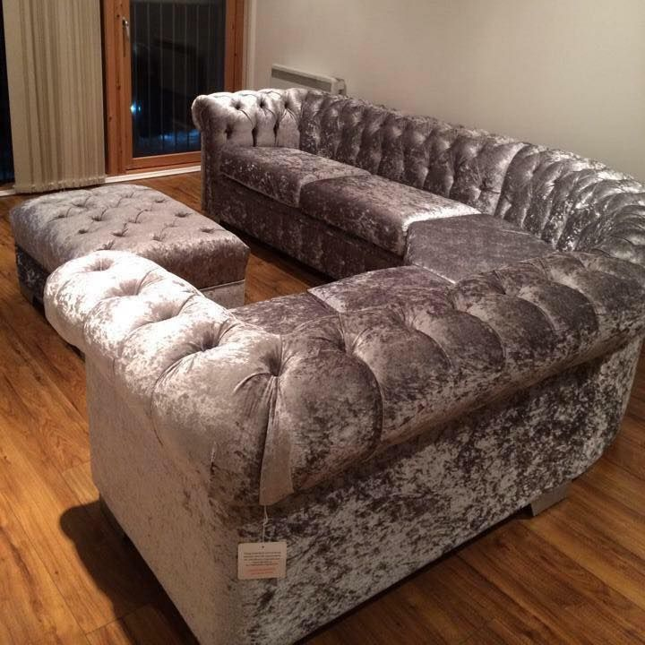 Living Room Furniture For Cheap Prices. 2016 FULL BUTTON CHESTERFIELD CORNER  1499 CRUSHED VELVET SET IN SILVER TRADITIONAL