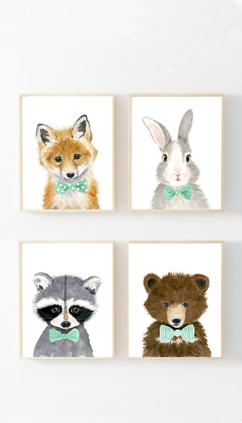 Woodland Babies Set Of 4 Prints Animal Paintings Fox Bear Rabbit Raccoon Nursery Prints Nursery Decor Nursery Kids Art In 2020 Baby Animal Nursery Baby Animal Art Baby Animal Prints
