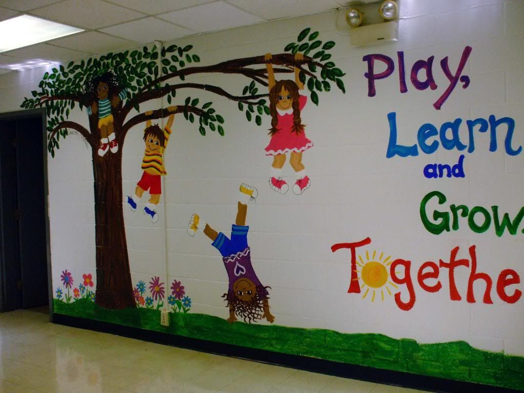 My mural on entrance wall of k 2 school photo a little paint for the classroom - Classroom wall decor ...