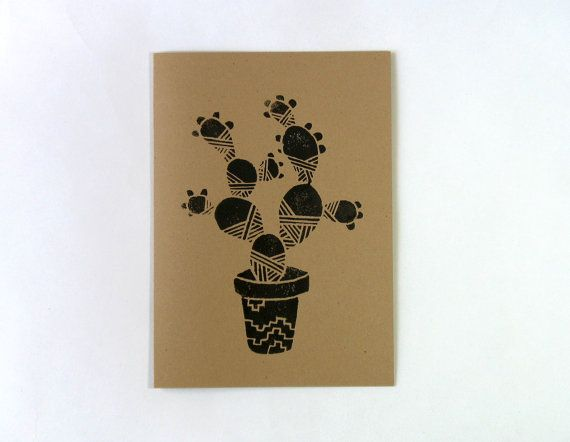 Not So Prickly Pear 5x7 Hand Printed by PaperPlanesMudPies on Etsy, $5.00. Prickly Pear Cactus.