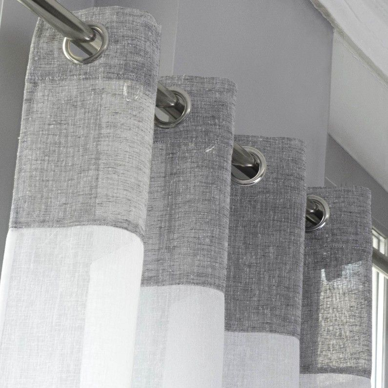 Voilage Tamisant Tendance Blanc Et Gris L 140 X H 240 Cm Leroy Merlin White Living Room Towel Rack House Styles