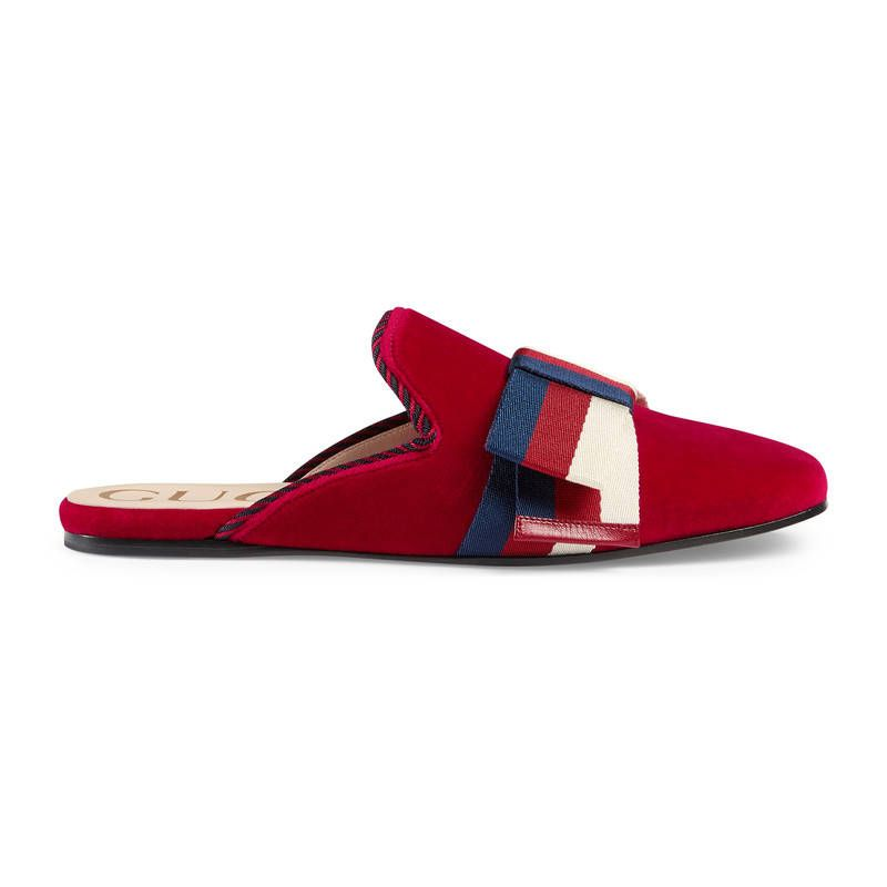 9ba49dee284f GUCCI VELVET SLIPPER WITH SYLVIE BOW.  gucci  shoes