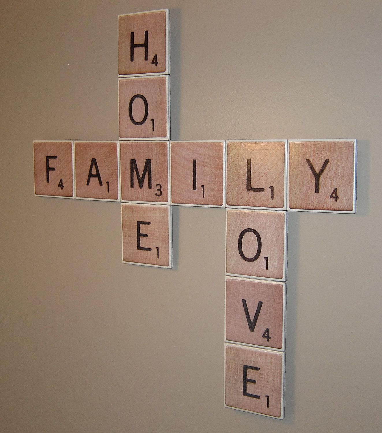 scrabble themed wall decor love family home via etsy home decor pinterest. Black Bedroom Furniture Sets. Home Design Ideas