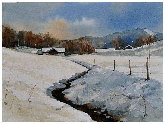 aquarellonlinekurs winterlandschaft malerei