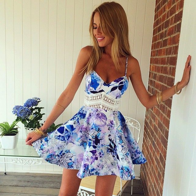 276f8d90b8 ... Printed Skater Dress for Womens a1d41 724d9  cheap for discount Wear a  white and blue floral crochet fit and flare dress for an ...