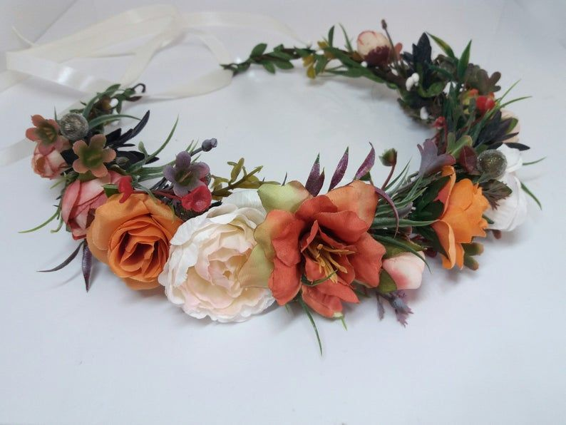Burgundy triple flower crown Autumn hairband