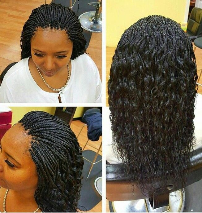 Micro braids. Curly ends.