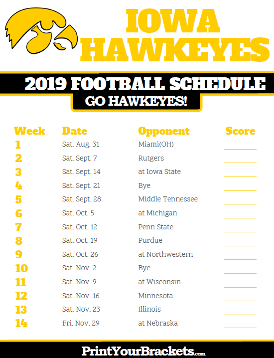 2019 Iowa Hawkeyes Football Schedule Printable College Football
