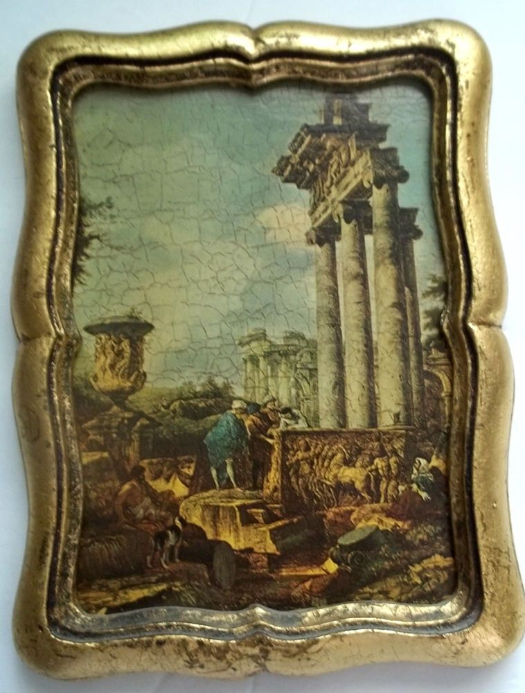 Vintage Picture Frame Gold Gilt Wood Ancient Ruins Greecerome Print