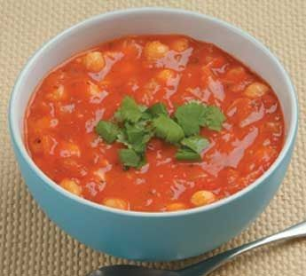 Chickpea and tomato bacon soup. Easy winter warmer