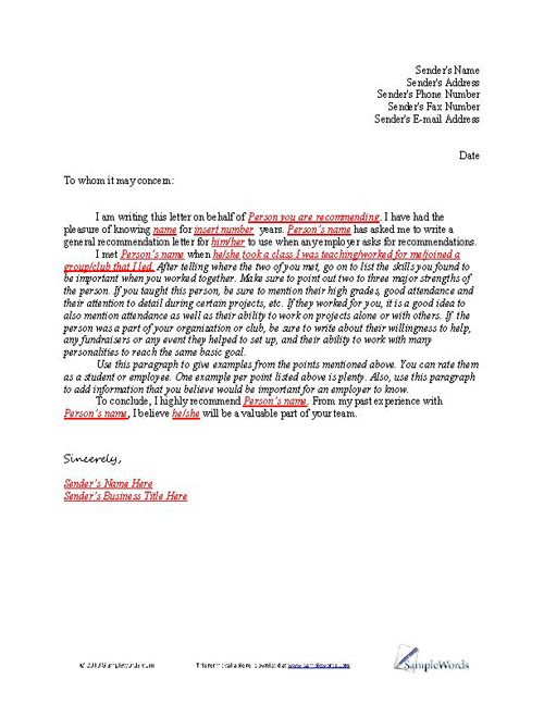 of Recommendation Sample - letter of recommendation word template