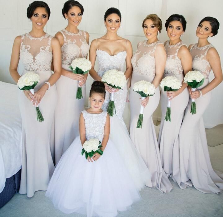 New Cheap Vestidos 2016 Long Lace Bridesmaid Dresses Jewel Neck ...