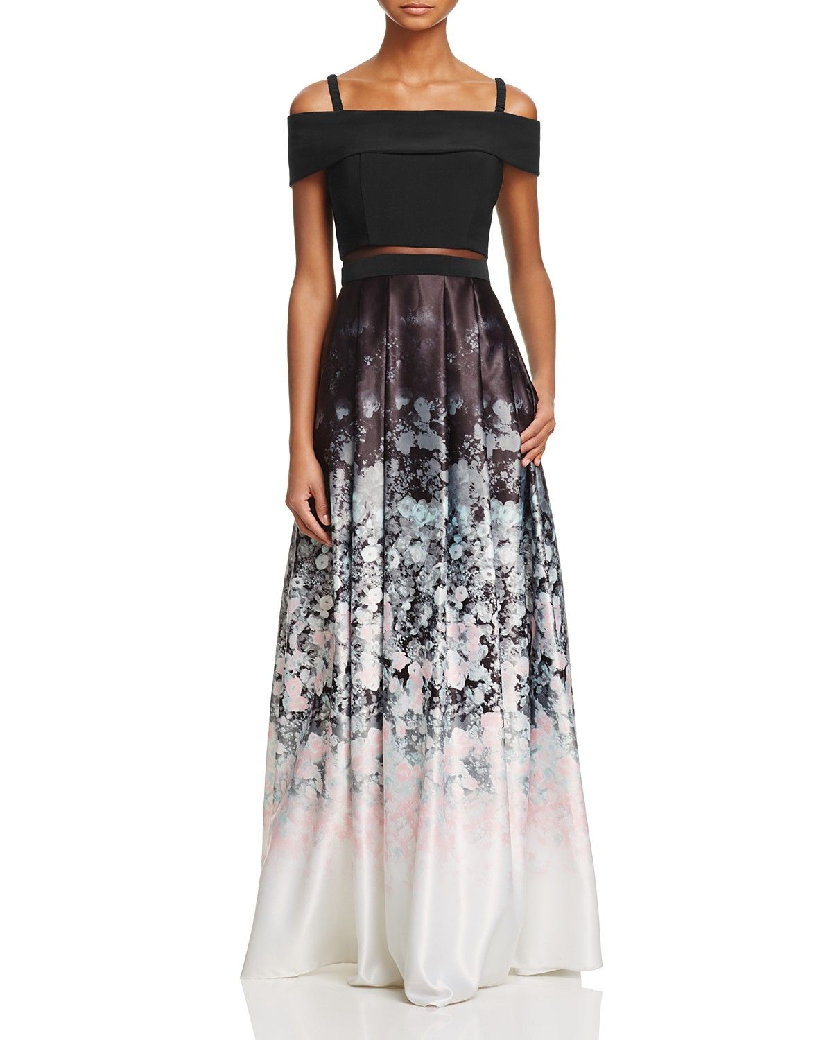Aqua Floral Ombre Gown 100 Exclusive Women Bloomingdale S Ombre Gown Floral Print Gowns Ball Dresses [ 1500 x 1200 Pixel ]