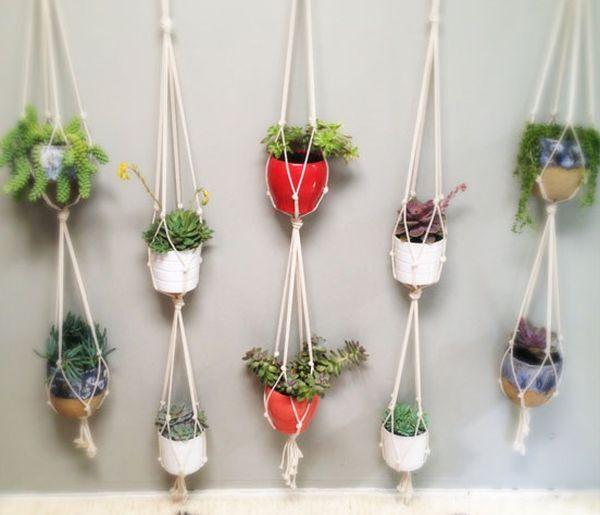 wohnungsgestatung mit grünpflanzen-landhausstil seil blumenampel - blumenampel selber machen hangekorb