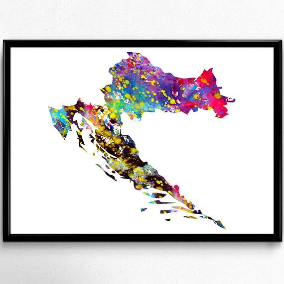 Croatia Map Watercolor Poster Watercolour Art Watercolor