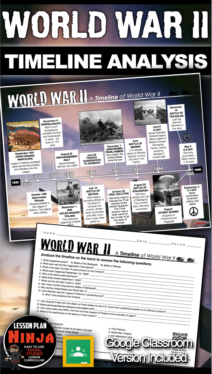 World War 2 Timeline Activity (WWII) + GoogleClass Version for Distance Learning