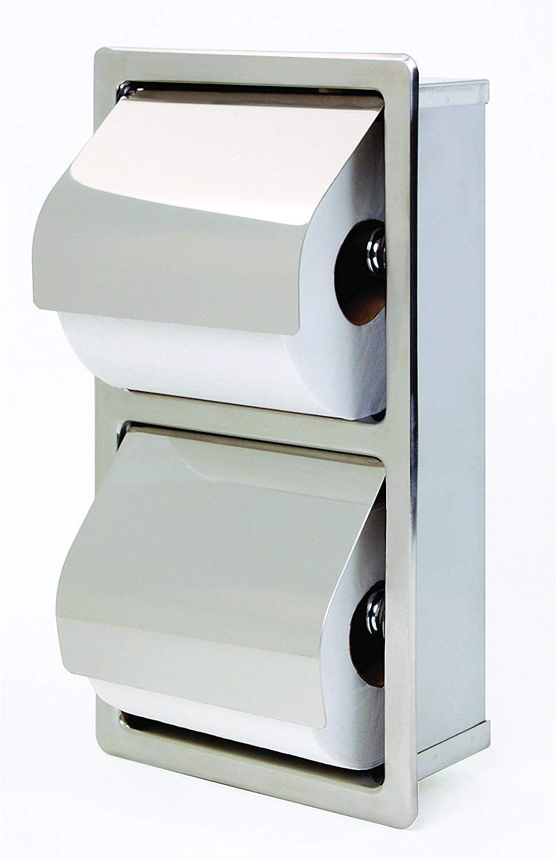 Bradley 5127 000000 Stainless Steel Recessed Mounted Hinged Hood Stacking Rolls Toilet Recessed Toilet Paper Holder Toilet Paper Dispenser Restroom Accessories