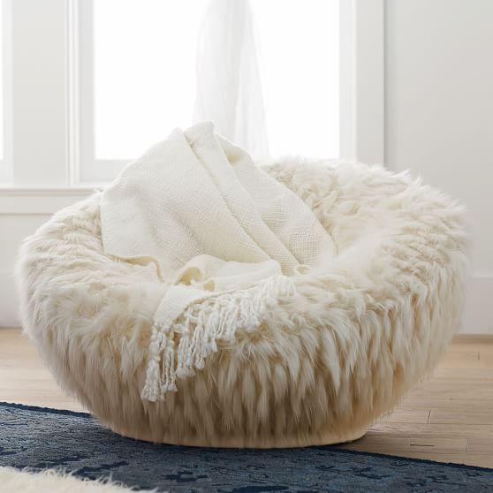 Winter Fox Faux Fur Groovy Swivel Chair Bean Bag Chair