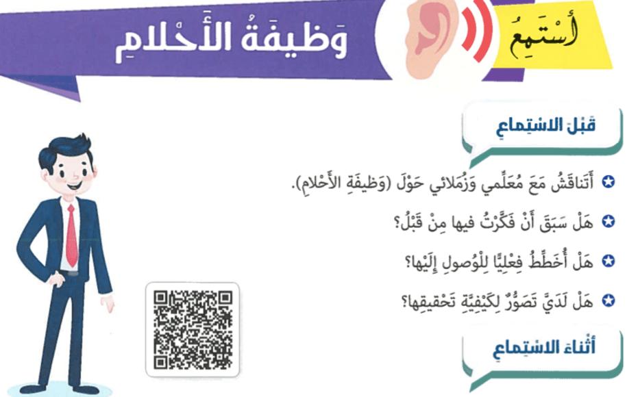 اللغة العربية بوربوينت استماع وظيفة الأحلام لغير الناطقين بها للصف التاسع