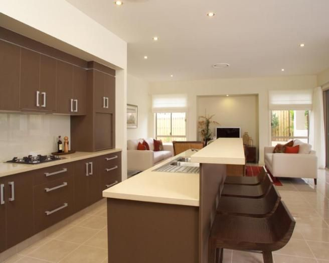 Photo Of Contemporary Open Plan Beige Brown Kitchen With Breakfast Bar