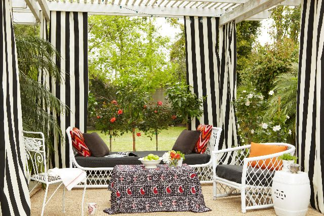 Black White Striped Outdoor Curtains For Backyard Patio