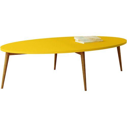 mesa de centro oval amarela orb