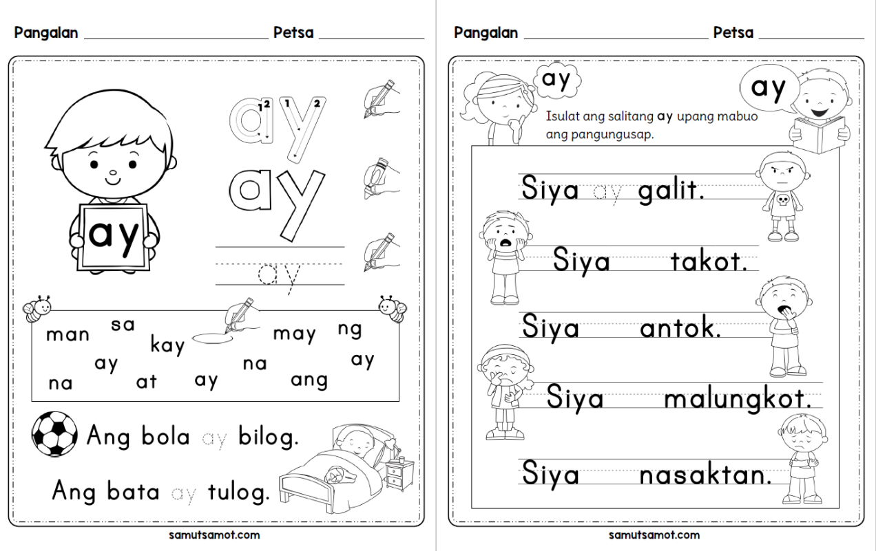 Filipino Worksheets – Samut-samot   1st grade reading worksheets [ 801 x 1272 Pixel ]