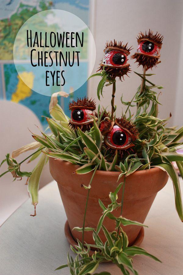 """Halloween Chestnut eyes transformed to a """"Monster Plant"""" DIY: Kastanje øjne for…"""