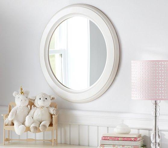 Distressed White Wood Round Mirror Round Mirrors White Wood Mirror Decor