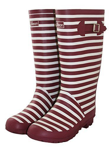 8abca0b26fe4 Jileon Wide Calf Rain Boots - Deep Red with White Stripes - Fit up to 18  Inch Calves