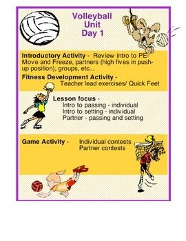Here is a volleyball unit laid out with many activities for a 3-4 ...