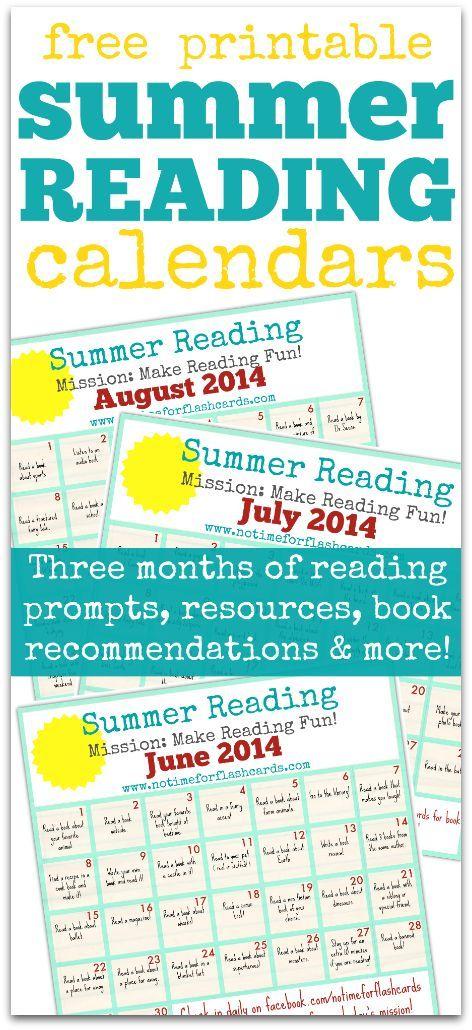 Summer Reading Calendar - FREE Printables Classroom Pinterest