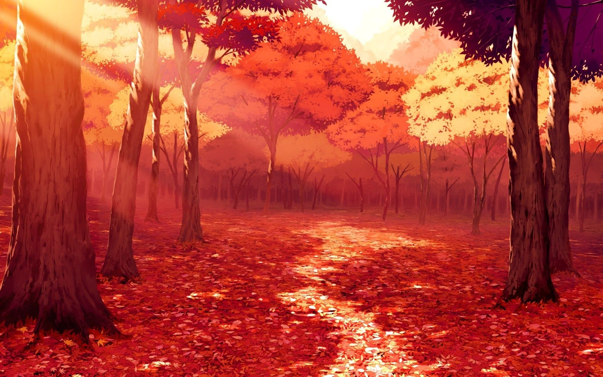 1920x1200 Drawing Artwork Fall Leaves Sunlight Forest Red