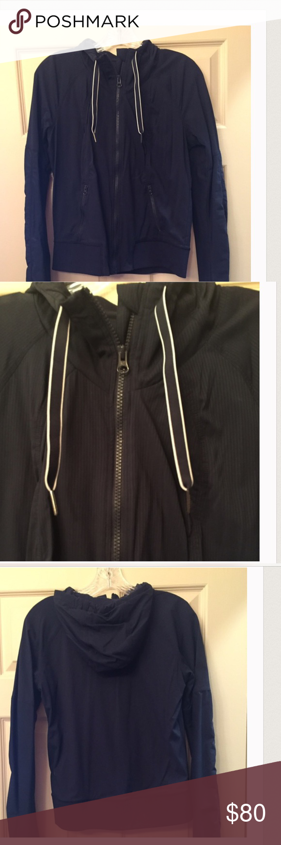 Re-poshing!!!  Lululemon navy Jacket!  Size 4 I bought from another posher. Good condition and lightweight materials!   No trade!  Make me  a reasonable offer! lululemon athletica Jackets & Coats