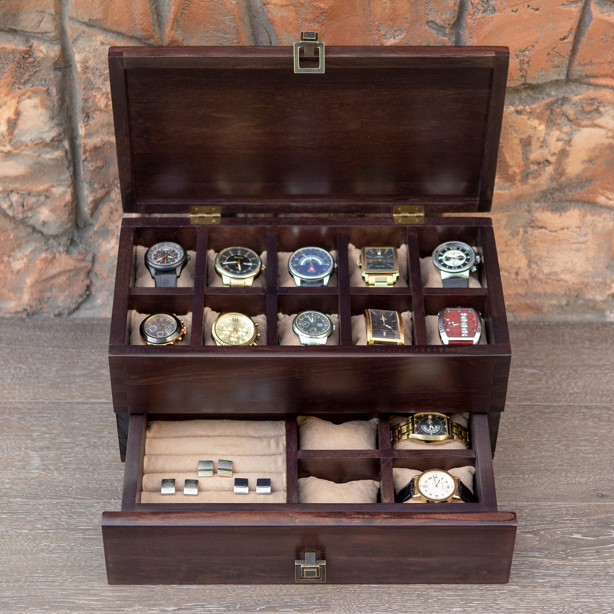 0a3d7950b3f Wooden valet box for watch and cuff links Hetch DS12 Walnut Mens ...