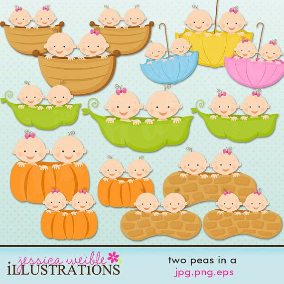 Twin Girl Baby in A Cute Digital Clipart - Twins in Peapod, Twins ...