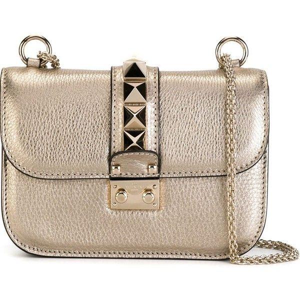 0b83a067cb2 Valentino Garavani 'Glam Lock' metallic shoulder bag ($1,855) ❤ liked on  Polyvore