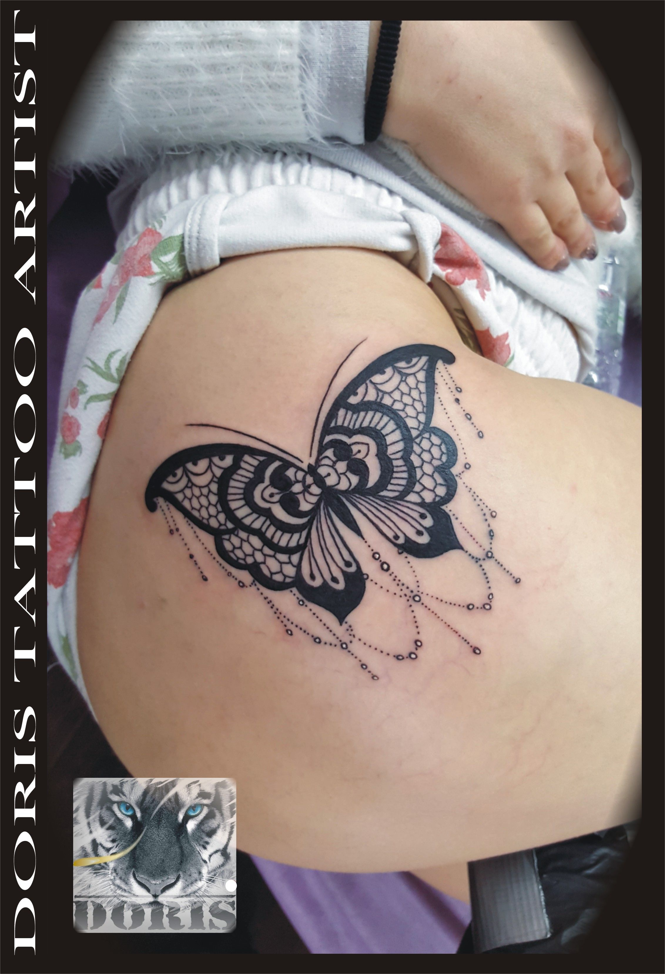 mandala lace butterfly thigh tattoo doris aluf tattoo. Black Bedroom Furniture Sets. Home Design Ideas
